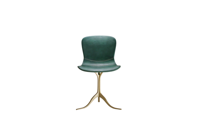 PT40 Chairs, Hand Stitched Leather, Sand Cast Brass