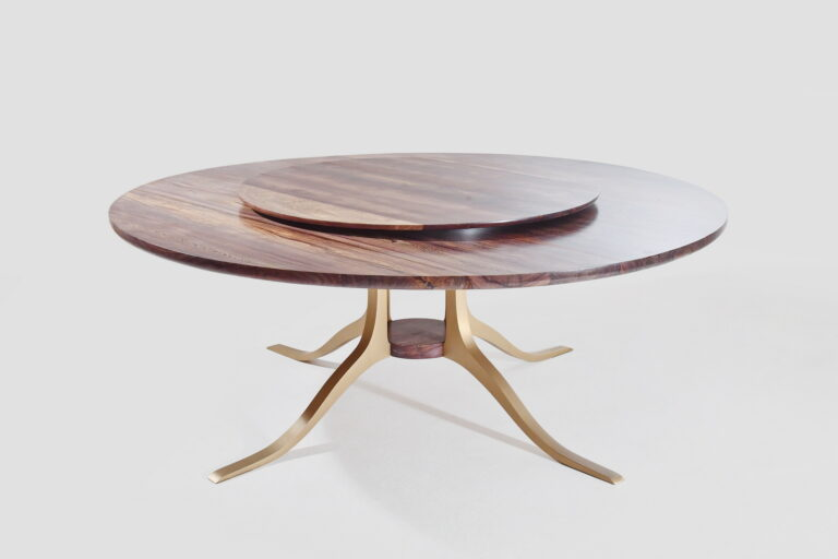 Round Table with Lazy Suzanne, Reclaimed Hardwood, Sand Cast Brass Base