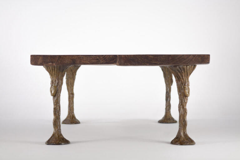 Artist Collaboration Bronze Dining Table by Jean Bilquin