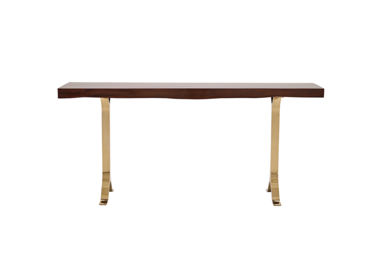 French Polished Console in Antique Hardwood with Bronze Base