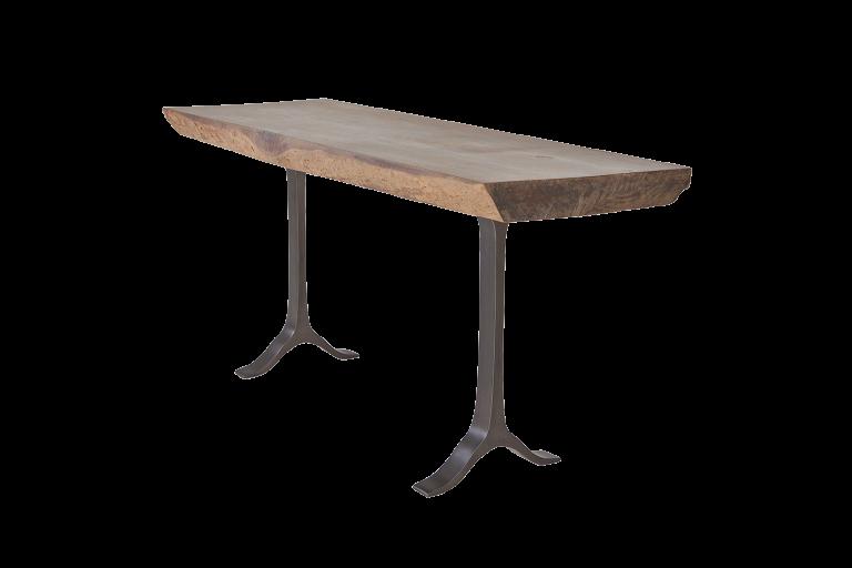 Antique Hardwood Console Table, Sand Cast Aluminum Base