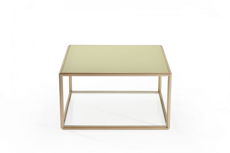 Cubist Glass and Brass Occasional Square Table
