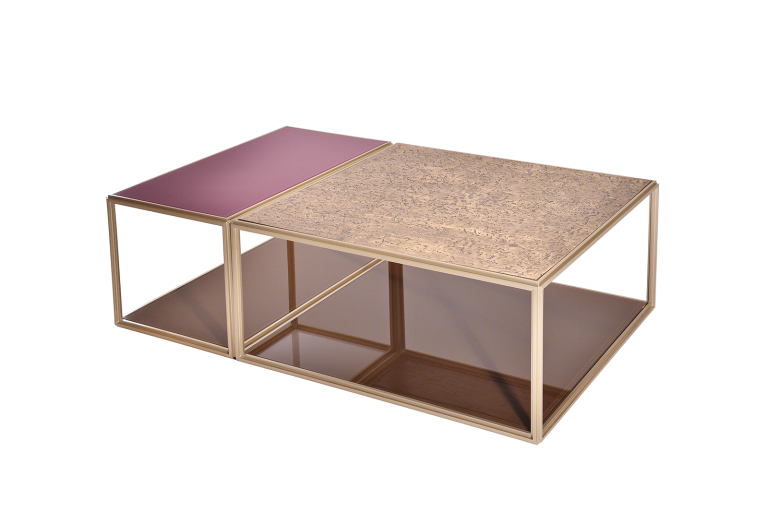 Set of 2 Modular Low Tables, Brass and Glass