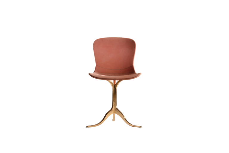 PT46 Chair, Hand Stitched Leather, Sand Cast Bronze