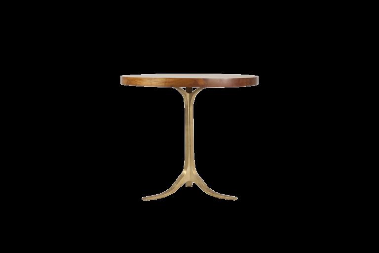 Round Table, Reclaimed Hardwood, Sand Cast Brushed Brass Base