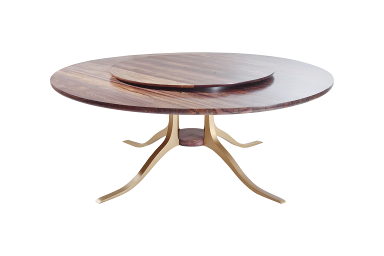 Round Table with Lazy Susan, Reclaimed Hardwood, Sand Cast Brass Base