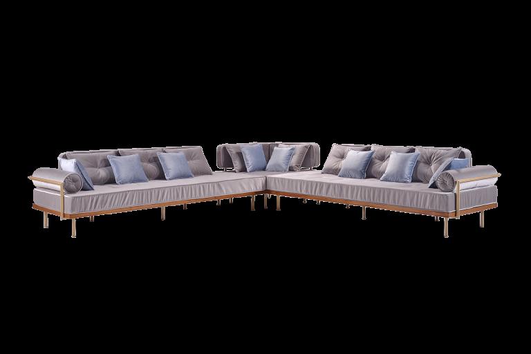 Corner Sofa in Reclaimed Hardwood Frame, Solid Sand Cast Brass Structure