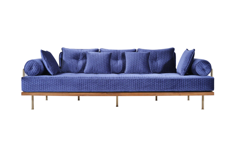 Three-Seater Sofa in Reclaimed Hardwood Frame, Sand Cast Brass Structure