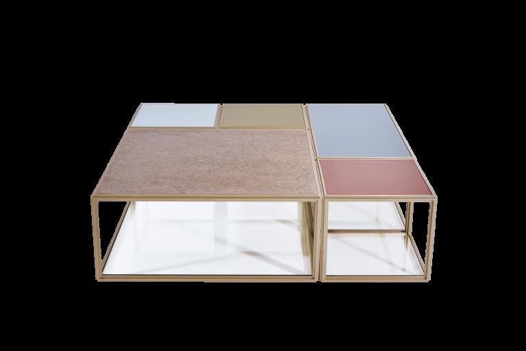 "Modular ""Mondrian"" Brass, Bronze and Glass Low Table"