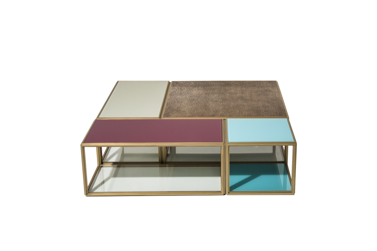Modular Mondrian, Bronze, Brass and Glass Low Table