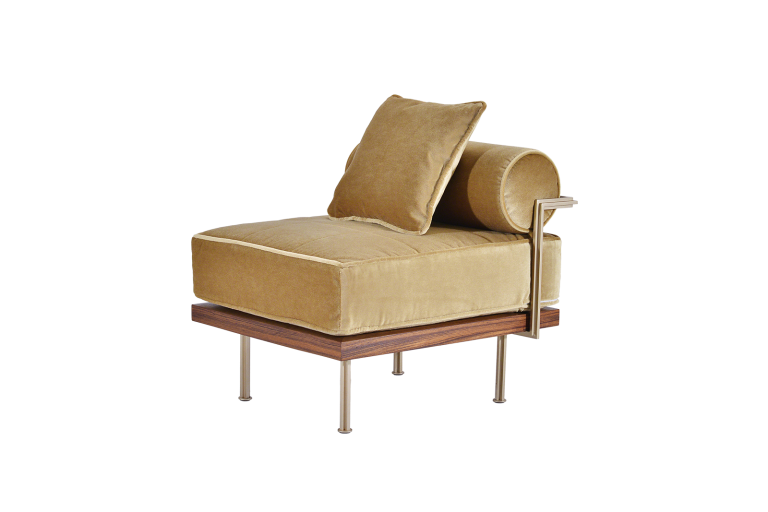 Outdoor One-Seater Sofa, Reclaimed Hardwood and Brass Frames