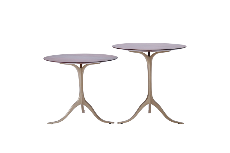 A Set of Round Occasional Table, Reclaimed Hardwood and Brass